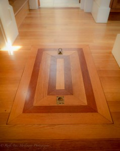 Custom made trap door to crawl space